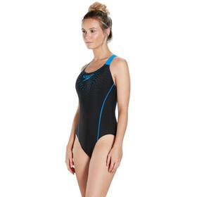 speedo Gala Logo Medalist Swimsuit Women Black/Neon Blue